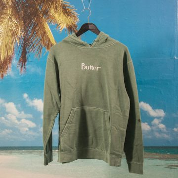 Buttergoods - Classic Logo Pigment Dye Hoodie - Dusty Teal