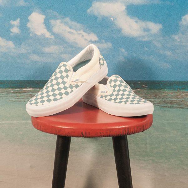 Vans - Slip On Pro Checkerboard - Adriatic Blue   White kaufen im ... 349d17af7