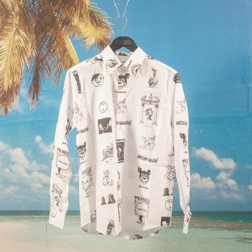 Fucking Awesome - Cut Out Dress Shirt - White / Black