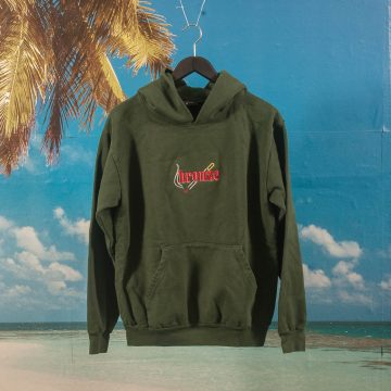 Bronze 56k - Embroidered Smoke Hoodie - Dark Green