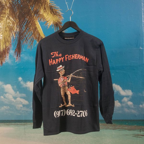 Call Me (917) - Happy Fisherman Longsleeve T-Shirt - Navy