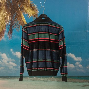 Fucking Awesome - Block Stripe Velour 1/4 Zip Shirt ( Cut & Sew ) - Black / Blue / Red Stripes